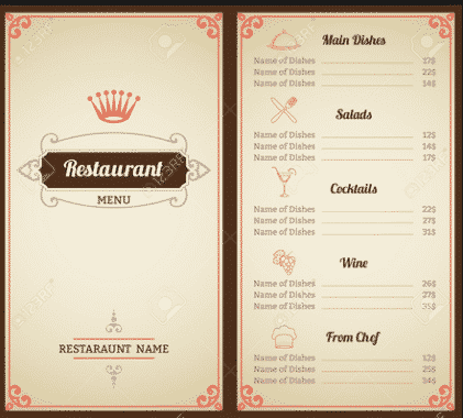 Contoh Daftar Menu Makanan Di Restaurant Dalam Bahasa Inggris 2